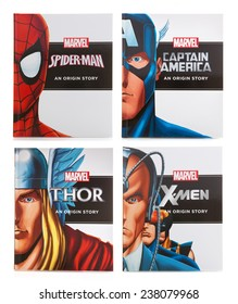 SWINDON, UK - DECEMBER 16, 2014:Four MARVEL Books Origin Storys on a White background