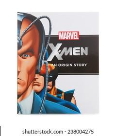 SWINDON, UK - DECEMBER 16, 2014:MARVEL Book X-MEN an Origin Story on a White background
