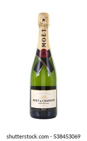 SWINDON, UK - DECEMBER 18, 2016: Moet and Chandon Brut Imperial champagne on a white background