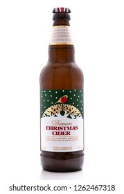 SWINDON, UK - DECEMBER 19, 2018: Bottle of Marks and Spencer Devon Christmas Cider made by Sandford Orchards