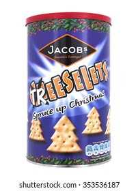 SWINDON, UK - DECEMBER 20, 2015: Jacobs Cheeselets Christmas Treeselets on a White Background