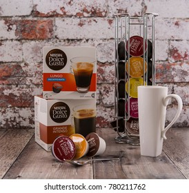 SWINDON, UK - DECEMBER 23, 2017: Nescafe Dolce Gusto Coffee Pod System in a rustic kitchen setting.