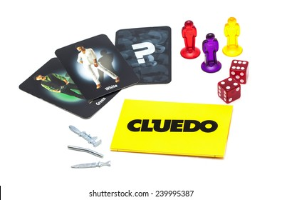 SWINDON, UK - DECEMBER 26, 2014: Cluedo murder mystery game for three to six players, devised by Anthony E. Pratt from Birmingham, England on a white background