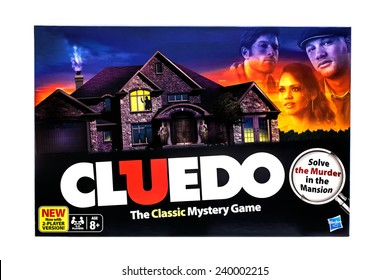 SWINDON, UK - DECEMBER 26, 2014: Cluedo Classic murder mystery game for three to six players, devised by Anthony E. Pratt from Birmingham, England on a white background