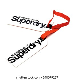 SWINDON, UK - DECEMBER 27, 2014: Superdry Clothes Tags on a White Background