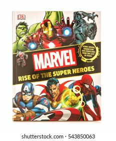 SWINDON, UK - DECEMBER 27, 2016: MARVEL Rise Of The Super Heroes on a white background