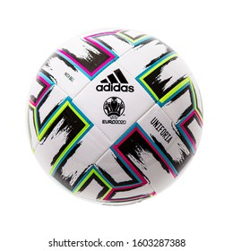 SWINDON, UK - December 27, 2019: Adidas UNIFORIA official football of the UEFA Euro 2020 competition on a white background.