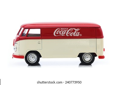 SWINDON, UK - DECEMBER 30, 2014:Old VW Van With Coca-Cola Logo on a White Background
