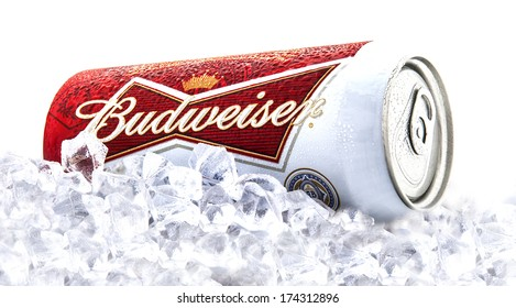 SWINDON, UK - FEBRUARY 1, 2014:  Can of Budweiser beer on a bed of ice  over a white background