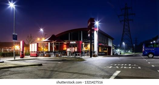 SWINDON, UK - FEBRUARY 12, 2019: Costa 24 Hour Drive Thru in West Swindon