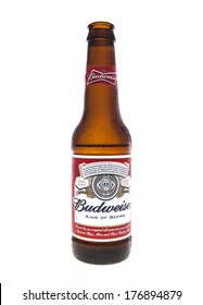 SWINDON, UK - FEBRUARY 16, 2014: Open Bottle of Budweiser Beer on a white background