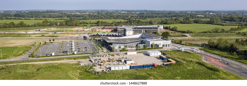 SWINDON, UK - FEBRUARY 16, 2019:  Aerial view of the new Hall & Woodhouse pub, The Deanery School and Waitrose in Wichelstowe, Swindon take by CAA  approved operator.
