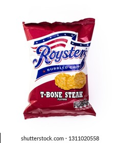 SWINDON, UK - FEBUARY 12, 2019: Roysters T-Bone Steak flavour bubbled chips on a white background