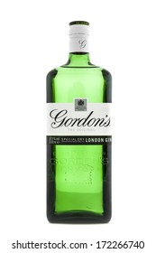SWINDON, UK - JANUARY 1, 2014:  Original Gordon's London Dry Gin bottle . Gordon's Gin was developed in London 1769 by Scot Alexander Gordon and its recipe remains unchanged to this days.