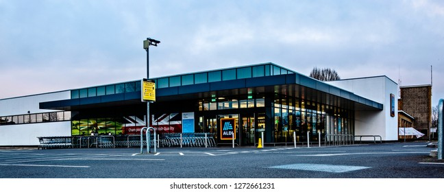 SWINDON, UK - JANUARY 1, 2019: ALDI Supermarket, Drove Rd, Swindon SN1 3AD
