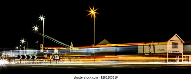 SWINDON, UK - JANUARY 1, 2019: Light Trials across the Magic Roundabout in Swindon at Night