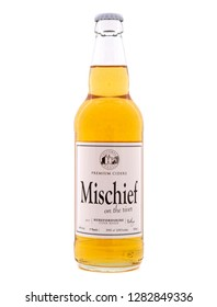 SWINDON, UK - JANUARY 13, 2019: Mischief on the river Premium Cider from Colcombe house the Herefordshire cider makers
