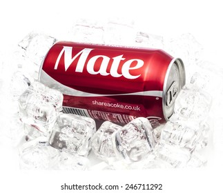 SWINDON, UK - JANUARY 24, 2015:  Can of Coca-Cola, share a Coke With Mate on a Bed of Ice  over a white background produced for the  Share a Coke promotion
