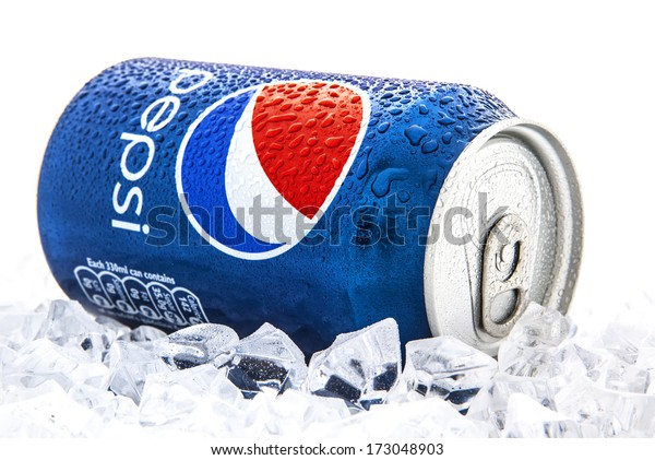 SWINDON, UK - JANUARY 25, 2014: Can of Pepsi cola on a bed of ice and white background, Pepsi is a carbonated soft drink produced PepsiCo. Created in 1893