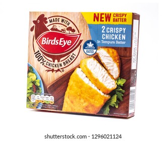 SWINDON, UK - JANUARY 27, 2019: Packet of Birds Eye Crispy Chicken in Tempura on a white background