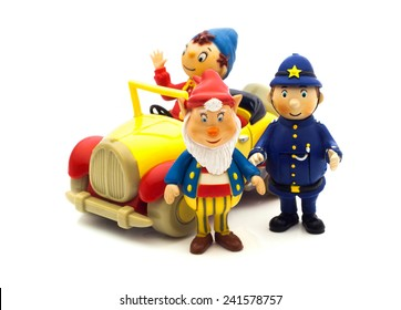 SWINDON, UK - JANUARY 3, 2015: Mr Plod, Big Ears and Noddy Characters From  Enid Blyton's Noddy on a White Background, Noddy is a character created by children's author Enid Blyton.