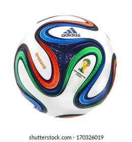 SWINDON, UK - JANUARY 8, 2014: Adidas Brazuca World Cup 2014 Football, The Official FIFA Matchball for the 2014 World Cup