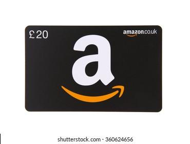 SWINDON, UK - JANUARY 9, 2016: Amazon gift card on a white Background