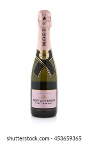 SWINDON, UK - JULY 11, 2016: A bottle of Moet & Chandon Rose Imperial champagne on a white background