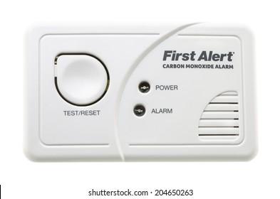 SWINDON, UK - JULY 13, 2014:  First Alert CO Carbon Monixide Alarm on a White Background
