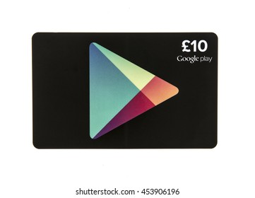 SWINDON, UK - JULY 17, 2016: Google Play Card on a white background