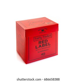 SWINDON, UK - JULY 30, 2017: A Box of Sainsbury�s Fairly Traded Red Label Tea Bags on a white background