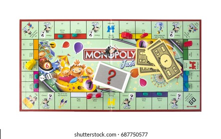 SWINDON, UK - JULY 31, 2017:  Junior Monopoly Game an a white background