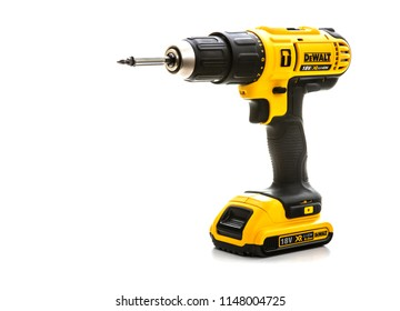 SWINDON, UK - JULY 31, 2018: DeWalt cordless power drill on a white background
