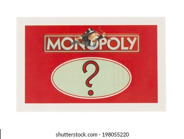 SWINDON, UK - JUNE 11, 2014: English Edition of Monopoly showing A Chance Card,  The classic trading game from Parker Brothers was first introduced to America in 1935.