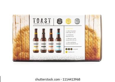 SWINDON, UK - JUNE 17, 2018: Toast craft beer, brewed with surplus fresh bread