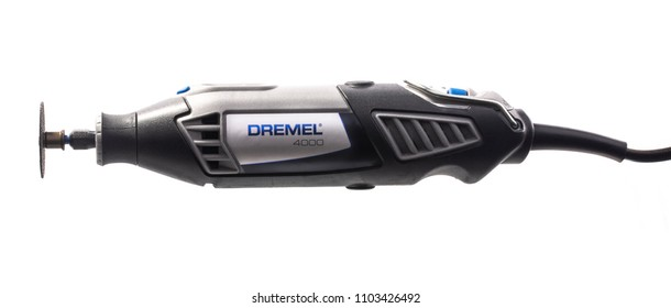 SWINDON, UK - JUNE 2, 2018: Dremel 4000 Multi Tool on a white background.