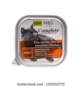 SWINDON, UK - JUNE 2, 2018: Marks and Spencer Complete adult cat food with suculent chicken.