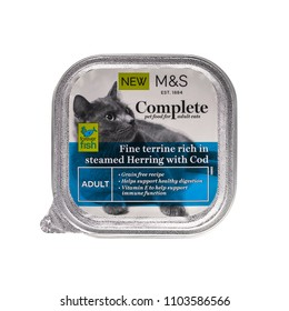 SWINDON, UK - JUNE 2, 2018: Marks and Spencer Complete adult cat food with steamed Herring and Cod.