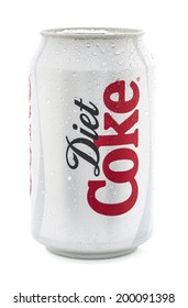 SWINDON, UK - JUNE 22, 2014:Ice Cold Can of Diet Coca-Cola on a white background