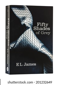 SWINDON, UK - JUNE 27, 2014: Erotic Romance Novel  Fifty Shades of Gray By EL James on a White Background, Fifty Shades of Grey has topped best-seller lists around the world,