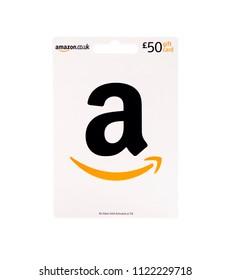 SWINDON, UK - JUNE 27, 2018: £50 Amazon Gift Card on a white background