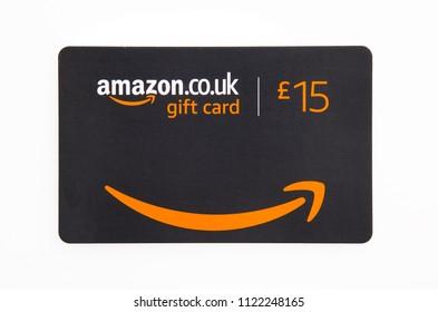 SWINDON, UK - JUNE 27, 2018: Amazon Gift Card on a white background