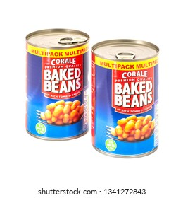 SWINDON, UK - MARCH 17, 2019: Two Cans of Corale Preamium Quality Baked Beans in rich tomato sauce on a white background