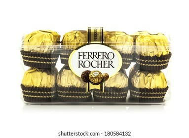 SWINDON, UK - MARCH 2, 2014: Ferrero Rocher Chocolates on a white background