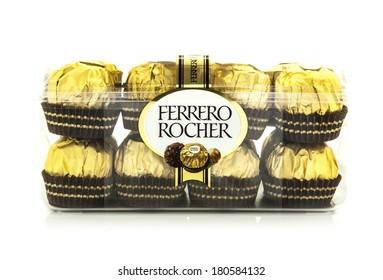 SWINDON, UK - MARCH 2, 2014: Ferrero Rocher Chocolates on a white background