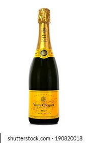 SWINDON, UK - MAY 2, 2014: Bottle of Veuve Clicquot Ponsardin Premium Champagne on a White Background, Veuve Clicquot Ponsardin is a French champagne house based in Reims