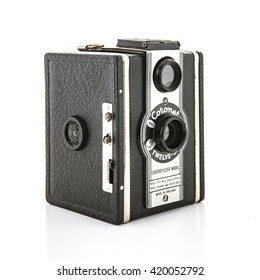 SWINDON, UK - MAY 2, 2016: Coronet Twelve-20 box camera from the 1950's on a white background