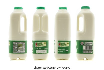 SWINDON, UK - MAY 25, 2014: 360 View of  British Fresh Country Milk on a White Background