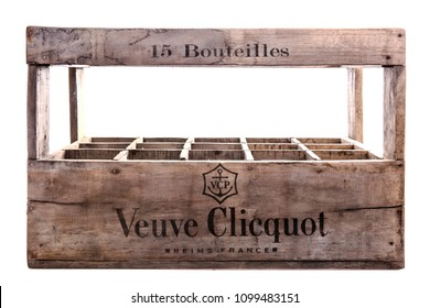 SWINDON, UK - MAY 27, 2018: , Original Veuve Clicquot 15 bottle wooden champagne crate on a white background