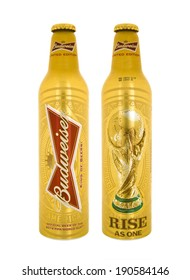 SWINDON, UK - MAY 3, 2014: Bottle of Limited Edition Budweiser beer made for the 2014 FIFA Football World Cup on a white background.